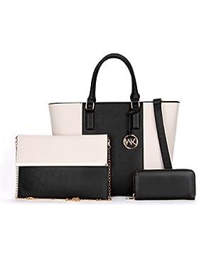 Damen PU Schultertaschen Totes Handtaschen Mit Passenden Geldbörse Geldbörse 3 Stück Set