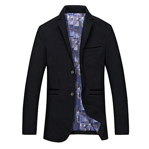 GWELL Herren Blazer Freizeit Sakko Casual Anzugjacke Business Regular Fit Schwarz, EU 5XL (Herstellergröße: 8XL)