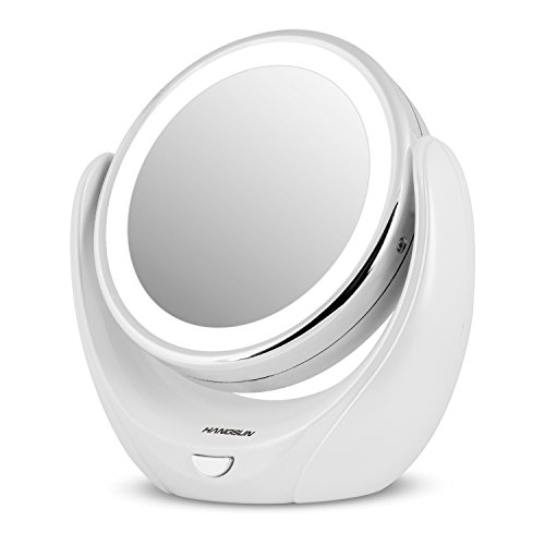 Hangsun Miroir Lumineux Maquillage B99 360º Miroir Grossissant x5 LED Miroir Salle De Bain/Rasage
