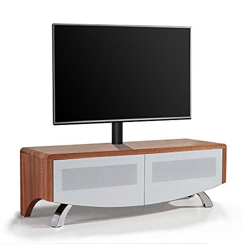 MDA Designs Wave 1200 Verre Blanc Hybride Beamthru Meuble Remote-Friendly 81,3 - 152,4 cm Meuble TV écran Plat avec Support de Montage Noix