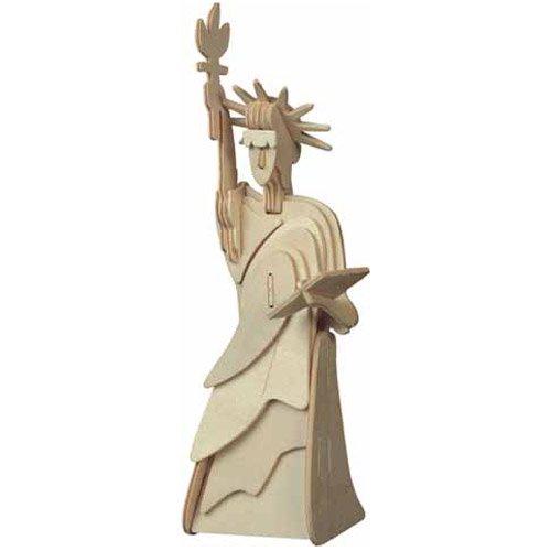 Etna Ilawa Freiheitsstatue - mitel ca. 7,5 x 10 x 26,5 cm 3D Holzbausatz New York USA Steckpuzzle Bauwerk Gebäude Holzpuzzle P031A -