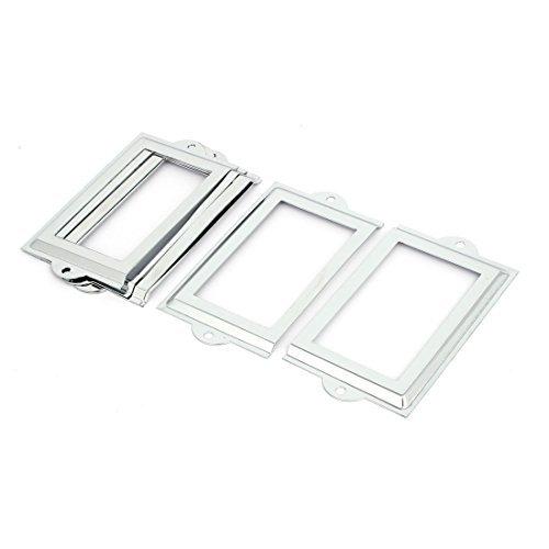 DealMux Office-Datei Schublade 105mm x 60mm Tag Etikettenhalter Frames Silber Ton 6PCS (Schublade-datei Frame)