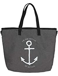de6cb9fcc52e7 Zwillingsherz Handtasche im Anker Design mit Wildlederhenkel - Strandtasche  für Damen Mädchen…