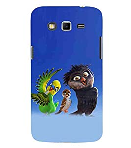 For Samsung Galaxy Grand Neo Plus I9060I :: Samsung Galaxy Grand Neo+ three cartoon, bird, blue background Designer Printed High Quality Smooth Matte Protective Mobile Case Back Pouch Cover by APEX
