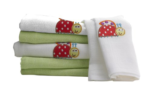 Lollipop lane Kid's Cotton Bright Lady Bug Muslin Squares, 0-5 Years (MS-BL-6, White) - Pack of 6