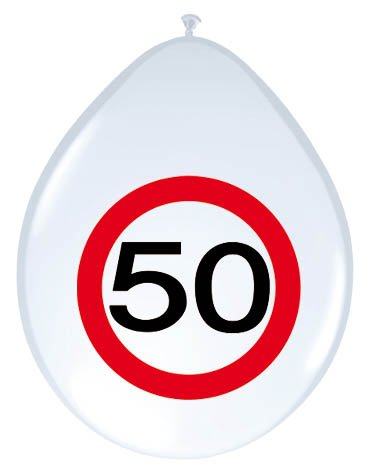 23-tlg. Partyset 50. Geburtstag Dekoset Dekobox – Verkehrschild – Girlanden, Luftballons - 5