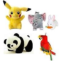 Soniya Enterprises Combo 5 pics Animale Soft Toys Set Elephant 40cm with 2 Baby , Rabbit 30cm , Panda 30cm , Pikachu…