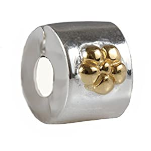 ANDANTE-Stones 925 Sterling Silber Gold Bead Charm Clip Stopper – Element Kugel für European Beads Modul Armband + Organzasäckchen