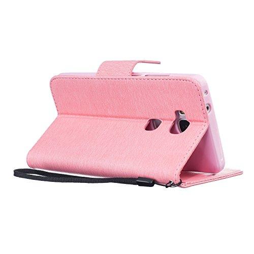 Guran® PU Ledertasche Case für Apple iPhone 6 Plus / 6S Plus Smartphone Flip Cover Stent-Funktion und Karte Slot Hülle Retro Federn Etui - Rosenrot Rosa