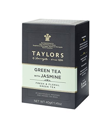 Taylors Green Tea with Jasmine/Té Verde al Gelsomino Fresco e Floreale - 1 x 20 Individually Wrapped and Tagged Tea Bags (40 Gram)