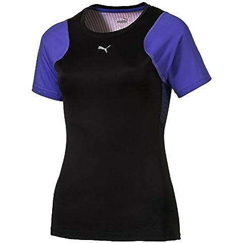 PUMA Graphic S/S Tee W - Camiseta técnica para mujer, color negro / morado, talla L