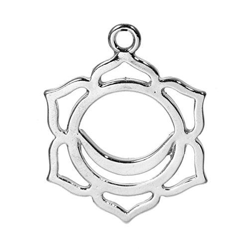 The Bead und Button Box–2silber Ton Chakra Anhänger–swadisthana/Svadhisthana (Sakral Chakra) 3cm. Blei und nickelfrei. Ideal für Ketten, Ohrringe oder große Charme auf einem Armband