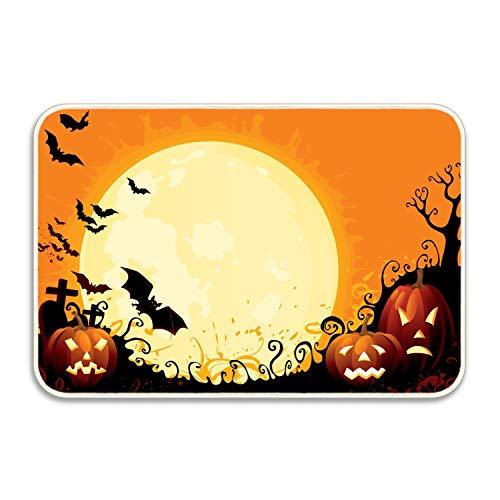 MERCHA Halloween Poster Welcome Boden Sauberlaufmatte Fußmatte Home Decor strapazierfähig Rutschfest, Gummi, Happy Halloween7, 20x32(IN) (Happy Miami Halloween In)