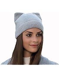 W Z Sombrero de Punto Invierno a Prueba de Viento Sombrero cálido Gorro  Suave Gorro Lindo Gato 4c41aef9552