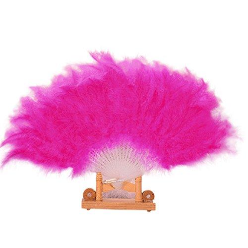 Kostüm Tanz Showgirl - Winkey Handfächer, Hochzeit, Showgirl Tanz-Requisiten, elegant, große Feder, faltbar, hot pink
