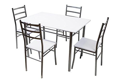 Avanti trendstore - caroma - set con tavolo e sedie, bianco, in metallo e legno truciolato - ideale per la tua cucina