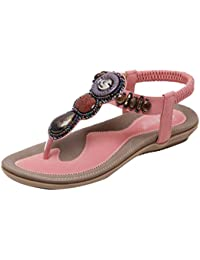 DQQ Damen Perlen Ankle Strap String Sandale, Pink - 1 - Größe: 37