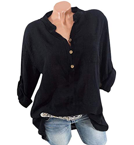 Quceyu Damen Blumen Spitze Tops Oversize Bluse Shirt Kurzarm V-Ausschnitt Oberteile Lose T Shirt (A-Schwarz, X-Large)