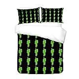 XWXBB microvezel Billie Eilish beddengoed 135x210, Billie Eilish Bad Guy Bellyache Neon Green 3D print beddengoed set tieners meisjes kinderen neon groen winter dekbedovertrek met kussensloop Merch