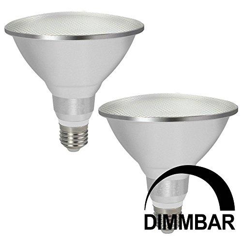 DASKOO 2-er Pack Dimmbar Wasserdichtes E27 15W = 120W LED PAR38 Licht Aluminium Legierung + Glasabdeckung Warmweiß 30X5630 SMD 1200LM AC 220-240V Für Outdoor und Indoor Einsatz - Par38 Fassung