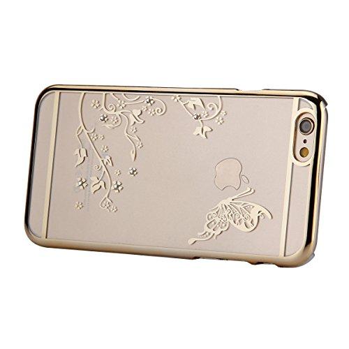 Coque Housse Etui pour iPhone 6 Plus, iPhone 6 Plus Coque en Silicone avec Bling Diamant, iPhone 6 Plus Or Coque Placage de diamant Etui Housse, iPhone 6s Plus Or Coque Gold Etui Housse avec Bling Dia Papillon-d'or