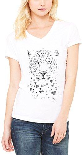 Jaguar Graphic Design Women's V-Neck T-shirt Blanc