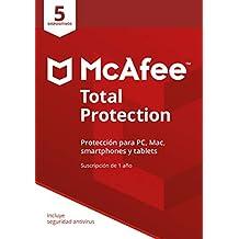 McAfee Total Protection   5 Dispositivos   12 Meses   PC/Mac   Código de activación enviado por email