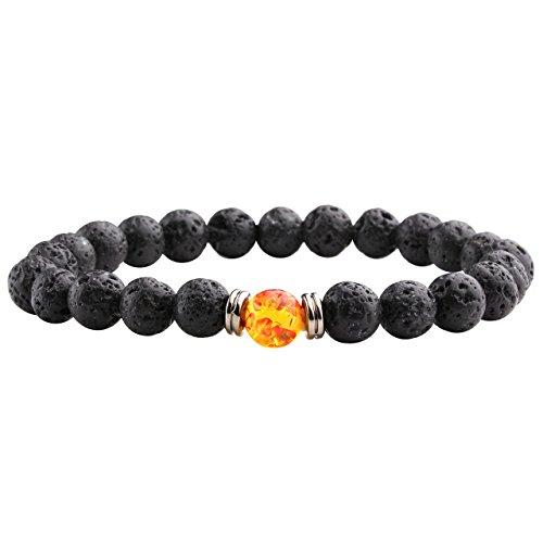 JOVIVI Schmuck, Lava-Armband Damen Herren Reiki-Energietherapie Armreif Rot-Gelb Bernstein Buddha-Armband, Lava Stein