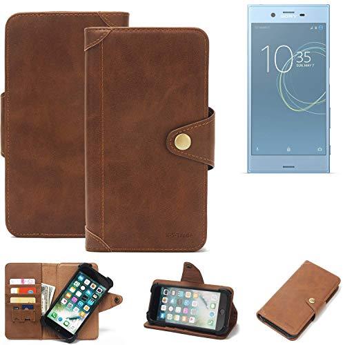 K-S-Trade Handy Hülle Sony Xperia XZs Dual SIM Schutzhülle Walletcase Bookstyle Tasche Handyhülle Schutz Case Handytasche Wallet Flipcase Cover PU Braun (1x)