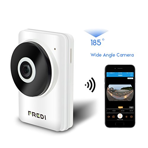 FREDI New Mini Wireless Camera with Baby Care Monitor Surveillance IP Camera 185°Wide Angle WIFI Night Vision Video Pan & Tile Play & Plug Two way Audio Support Micro SD Card Max 128G HD 720P Indoor 41BhYX84ncL
