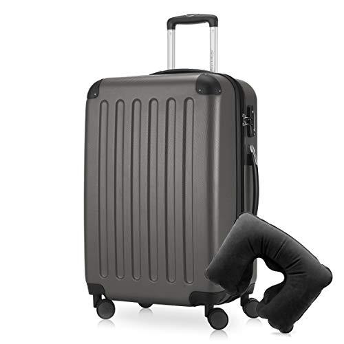 Hauptstadtkoffer - Spree Hartschalen-Koffer Koffer Trolley Rollkoffer Reisekoffer Erweiterbar, 4 Rollen, TSA, 65 cm, 74 Liter, Graphit inkl. Reise Nackenkissen