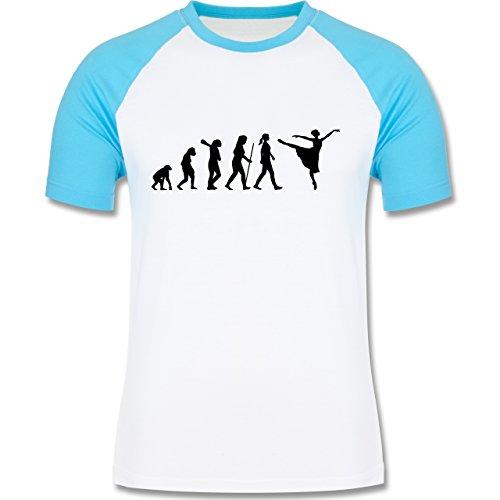 Evolution - Ballett Evolution - zweifarbiges Baseballshirt für Männer Weiß/Türkis