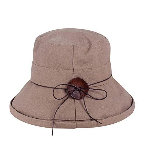 TYMDM Sonnenhut Neue Frauen-Sonnenhut-Sommer-Eimer-Hut-Art- Und Weisedame Wide Brim Fedoras Hut-Knopf-Erwachsene Beiläufige Kappen Wide Brim Fedora-hut