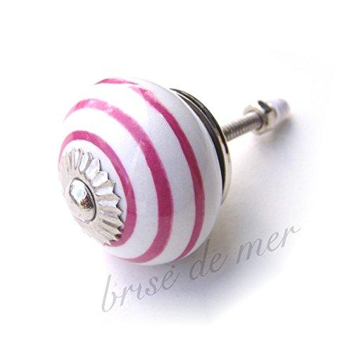 Brise de mer - Pomello per cassetto in stile shabby chic, rotondo con strisce, diversi colori disponibili White with Pink stripe