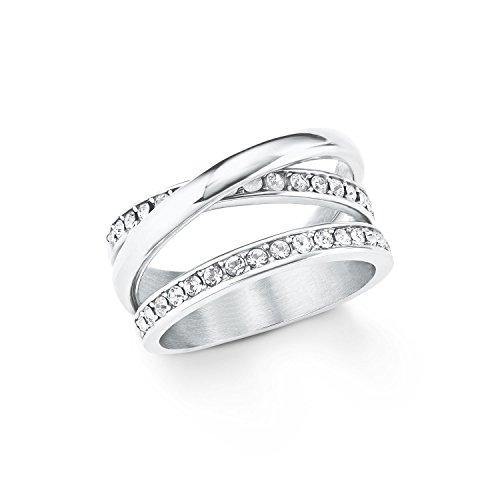 s.Oliver Ring für Damen mit Swarovski® Kristallen aus Edelstahl