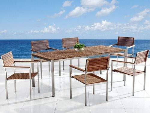 Beliani Gartenmöbel Set Holz Edelstahl 6-Sitzer VIAREGGIO
