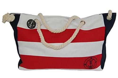 brandshopping99 , Borsa Messenger  nero Schwarz mit Anker Rot-Weiß