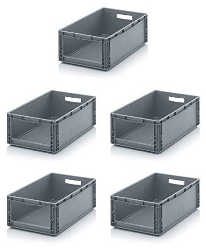 5x Auer Euro Sichtlagerkasten 60 x 40 x 22 cm inkl. gratis Zollstock * Eurobehälter mit Fenster für Regal, 5er Set