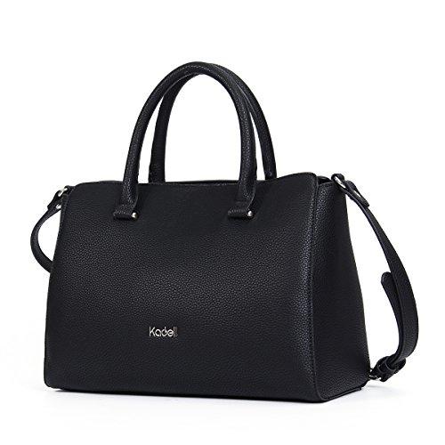 Leder Handtasche Luxus Damen, Kadell Elegant Umhängetasche Shopper Tote Henkeltasche Frauen Schultertasche große Kapazität Schwarz