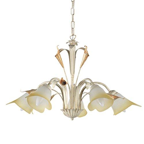 Onli lucrezia - lampadario 5 luci. struttura in metallo color avorio. paralumi in vetro satinato