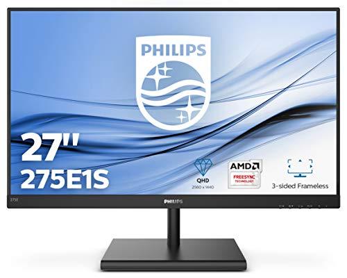 Philips 275E1S  68 cm (27 Zoll) Monitor (VGA, HDMI, 4 ms Reaktionszeit, 2560 x 1440, 75 Hz, FreeSync, DisplayPort) schwarz