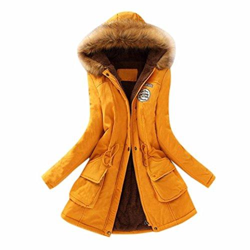Cappotto Donna, Reasoncool Fashion Giacca Lungo Parka Con Cappuccio di Pelliccia Ecologica Coulisse Calda Maniche Lunghe -Caldo Inverno Cappotto Giallo