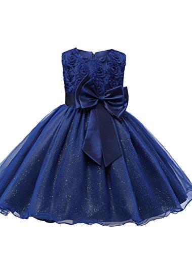 Mallimoda Mädchen Kleid Kinder Ärmellos 3D Blumenspitze Prinzessin Kleider Marine - Marine Blues Kleid Kind Kostüm