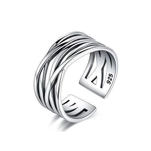 Top WHY 925 Sterling Silber X Criss Cross Eternity Ring Plain Einfache Ringe Offene Manschette Ring Einstellbare Band Ringe für Frauen Teen Girls (Band Hochzeit Mens Platinum)