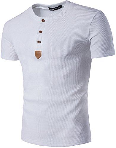 Baumwoll Jersey Henley (Whatlees Herren Urban Basic Henley T-Shirts Muskelshirt mit Schwer Baumwolle Jersey in Versch.Farben Kontrast Kunstleder einsartz B479-White-XXL)