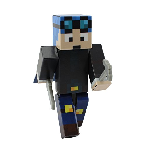 Blue Hair Miner Boy Action Figure Toy by EnderToys [Not an Official Minecraft Product]