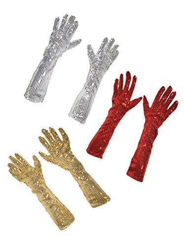 Karneval-Klamotten Handschuh-e Pailletten Gold lang 45 cm. Pailletten-Handschuh-e Charleston-Kostüm Karneval Silvester