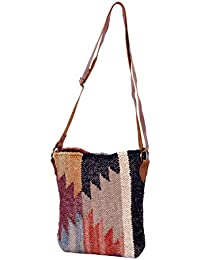 IndiWeaves Women Vintage Handmade Kilim Leather Handle Cross Body Sling Bag - B076591CRJ