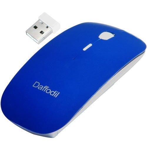 Daffodil WMS500L - Kabellose optische Maus - 3 Tasten-Funkmaus mit Scrollrad - verstellbare Abtastrate (bis zu 1600 DPI) - Blau - Kompatibel mit: Microsoft Windows (8 / 7 / XP / Vista) und Apple MAC (OS X +) - wireless - keine Treiber notwendig