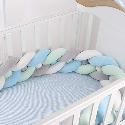 GLITZFAS 200/300CM Bettumrandung Baby Krippe Bettumrandung Kinderbett Baby Nestchen Weben 4 Weben Bettumrandung für Babybett Bettausstattung Kinderbett (Grau + weiß + grün + blau,3m) - Baby-krippe Eine